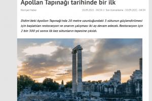 APOLLON TAPINAĞI TARİHİNDE BİR İLK! 2 BİN 300 YIL SONRA SÜTÜNLARA ÇIKILDI